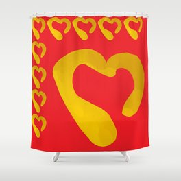 Gold Hearts on Red Shower Curtain