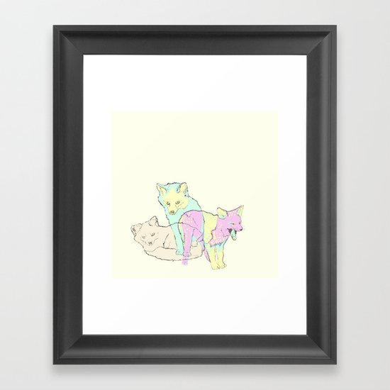 3 Channel Island Foxes Framed Art Print
