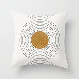 Sunshine Retro Circle Sun Throw Pillow