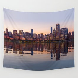 Panorama of the City skyline of Chicago Wall Tapestry