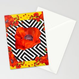 ABSTRACT ORANGE POPPIES MODERN ART YELLOW PATTERNS Stationery Cards
