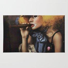 sad Girl clown with old dress smoke a cigar Rug