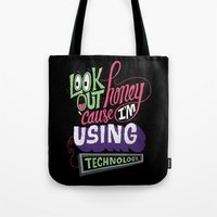 technology Tote Bags featuring Using Technology by Chris Piascik
