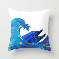 hokusai Throw Pillows featuring Hokusai Rainbow & Dolphin by FACTORIE