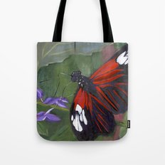 Red and Black Butterfly Tote Bag