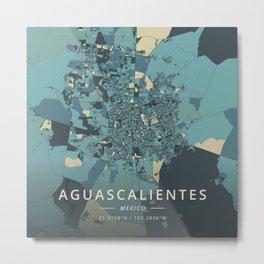 Aguascalientes, Mexico - Cream Blue Metal Print