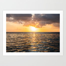Calm sea with sunset sky and sun through the clouds  | Photography print  Art Print