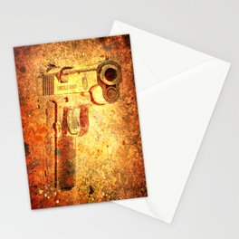 M1911 Muzzle On Rusted Background 3/4 View Stationery Cards