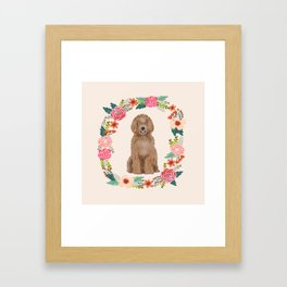 labradoodle floral wreath dog breed pet portrait pure breed dog lovers Framed Art Print