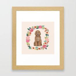 labradoodle floral wreath dog breed pet portrait pure breed dog lovers Framed Art Print