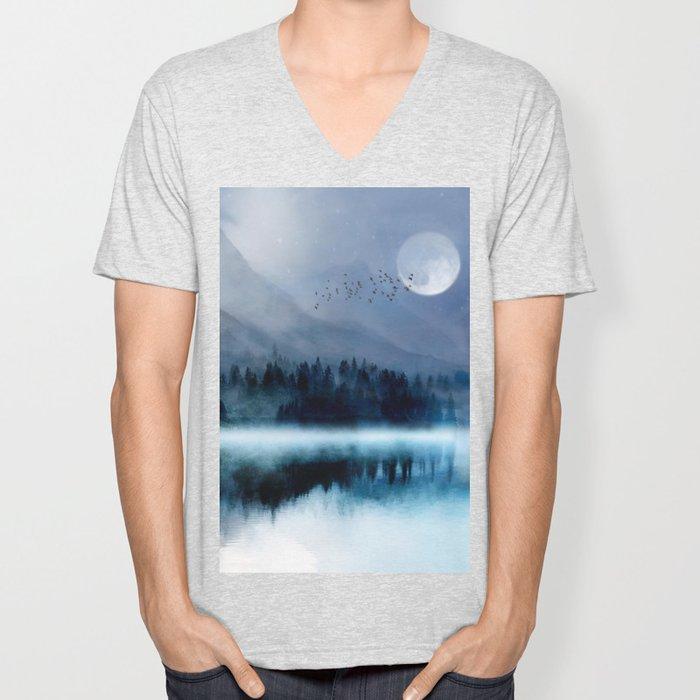 Mountainscape Under The Moonlight Unisex V-Neck