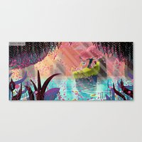 unicorns Canvas Prints featuring Unicorns by David Pavon