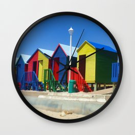 Beach houses at Muizenburg Wall Clock