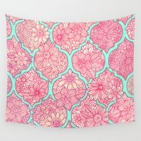 moroccan Wall Tapestries featuring Moroccan Floral Lattice Arrangement in Pinks by micklyn