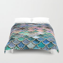 Multicolor Pink And Aqua Mermaid Scales - Beautiful Abstract Glitter Pattern  Duvet Cover