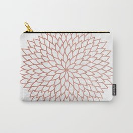 Mandala Flower Rose Gold on White Carry-All Pouch