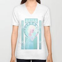 elsa V-neck T-shirts featuring Elsa by Shelby Wolf