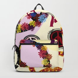Flower Power Peace Signs Coctail Backpack