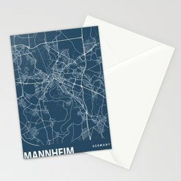Mannheim Blueprint Street Map, Mannheim Colour Map Prints Stationery Cards