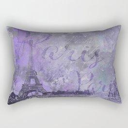 Purple Paris Watercolor Art Rectangular Pillow