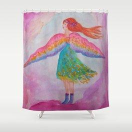 Rainbow Wings Shower Curtain