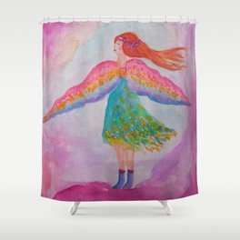 Rainbow Wings Shower Curtain
