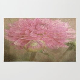 Soft Graceful Pink Painted Dahlia Rug