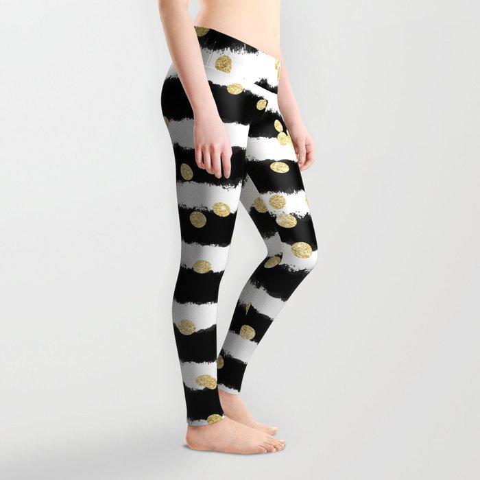 Modern black watercolor stripes chic gold confetti Leggings