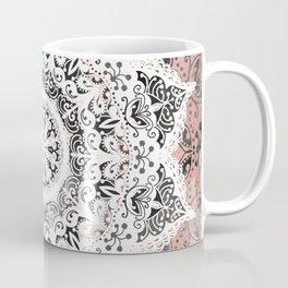 Dreamer Mandala White On Rose Gold Coffee Mug