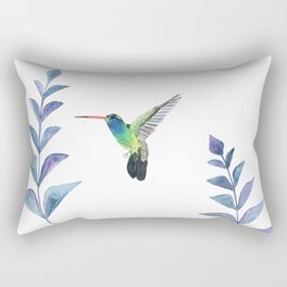 Hummingbird with tropical leaves watercolor design Rectangular Pillow