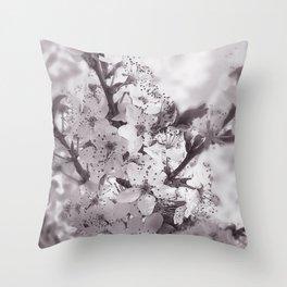 Sour Cherry Tree Black And White Throw Pillow