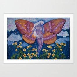 moth in the moonlight Art Print
