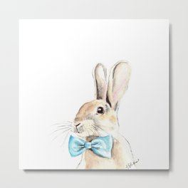 Bunny with a Blue Bow Tie. Watercolor Illustration. Metal Print