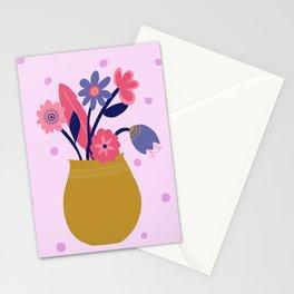 Pink Spotty Flower Stationery Cards