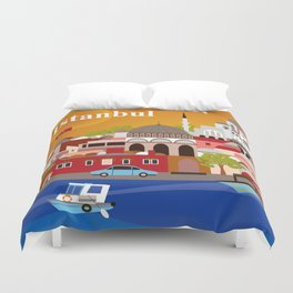 Istanbul, Turkey - Skyline Illustration by Loose Petals Duvet Cover