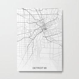 Detroit MI Map White USA Metal Print