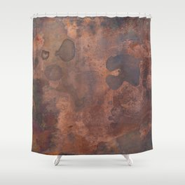 Tarnished, Stained and Scratched Copper Metal Texture Industrial Art Shower Curtain