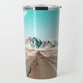 Vintage Desert Road // Winter Storm Red Rock Canyon Las Vegas Nature Scenery View Travel Mug