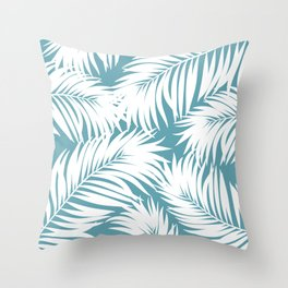 Palm Tree Fronds White on Soft Blue Hawaii Tropical Décor Throw Pillow
