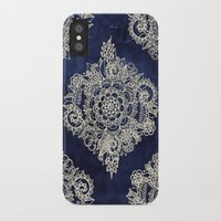 power iPhone & iPod Cases featuring Cream Floral Moroccan Pattern on Deep Indigo Ink by micklyn