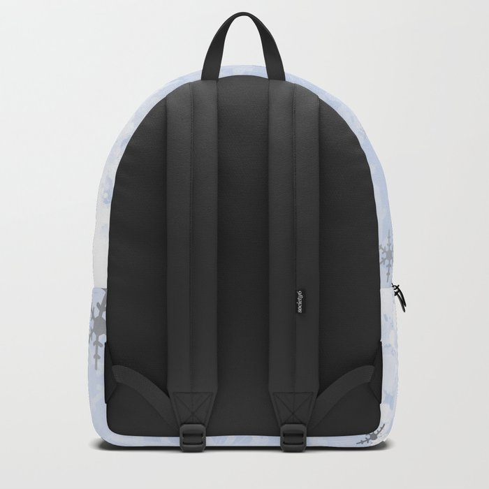 Silver snowflakes on blue Backpack