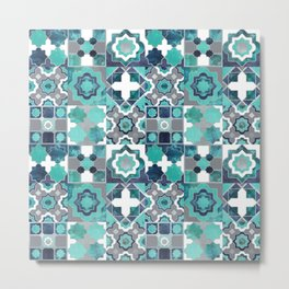 Spanish moroccan tiles inspiration // turquoise green silver lines Metal Print