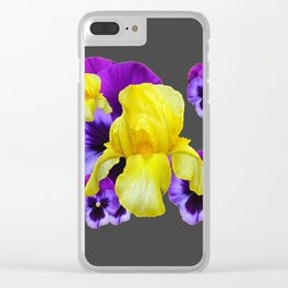 CHARCOAL GREY PURPLE PANSIES YELLOW IRIS ART Clear iPhone Case
