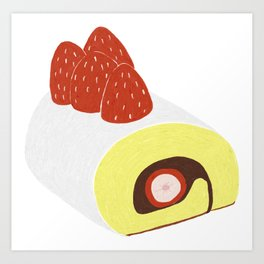 Cake Roll in White Art Print