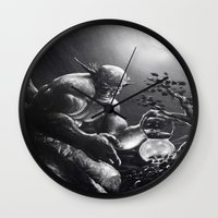 fireflies Wall Clocks featuring Fireflies by Art by Justin