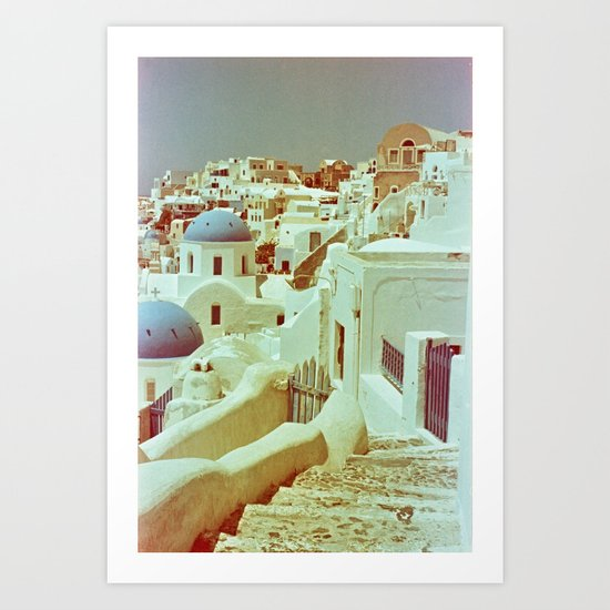 Santorini in Raspberry and Blue II: shot using Revolog 600nm special effects film Art Print