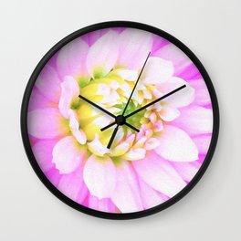 Pretty Pink, White and Yellow Cactus Dahlia Macro Wall Clock