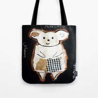 mouse Tote Bags featuring mouse by woman