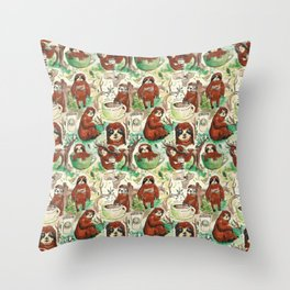 sloth in coffee pattern Throw Pillow