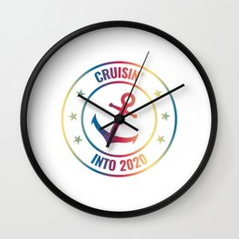 Cruisin' Into 2020 Happy New Year 2020 January 1st Fireworks Resolution Holiday T-shirt Design Wall Clock